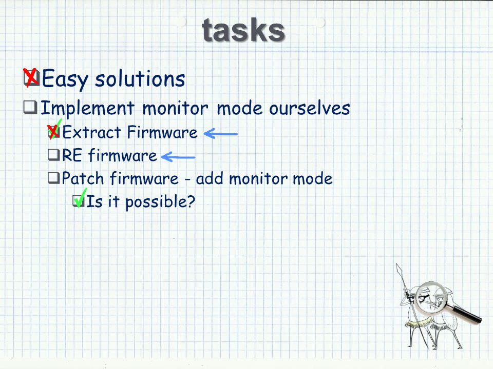 tasks Easy solutions Implement monitor mode ourselves Extract Firmware