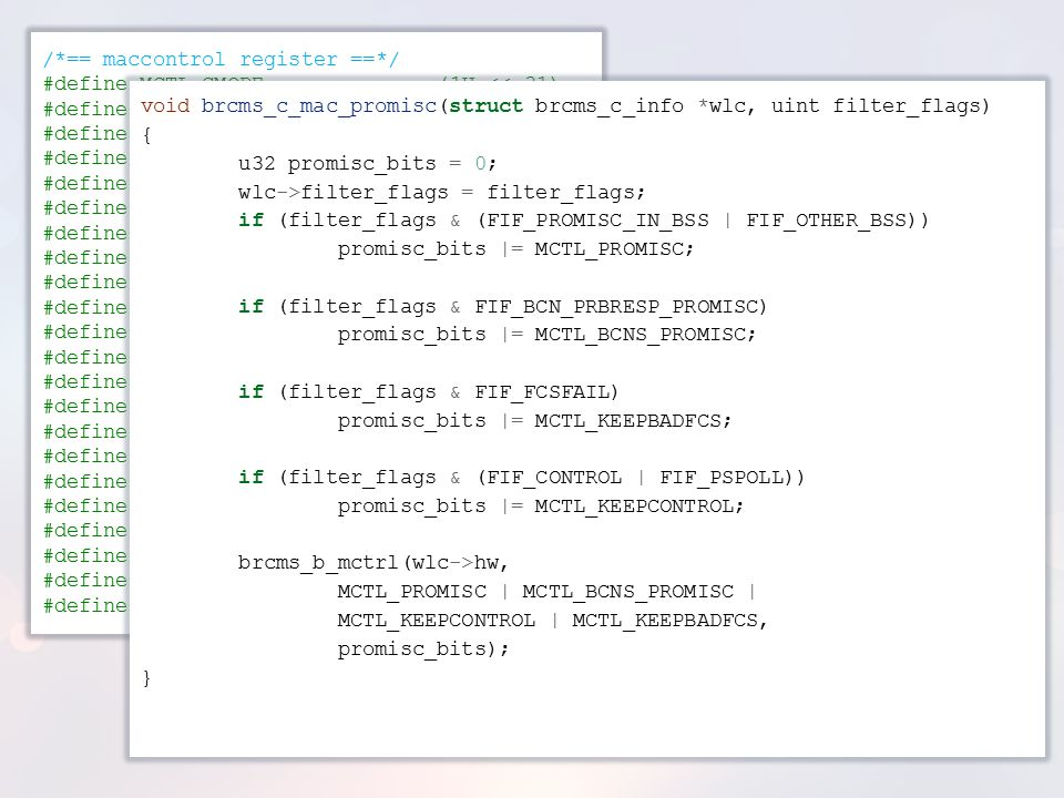/*== maccontrol register ==*/ #define MCTL_GMODE (1U << 31)