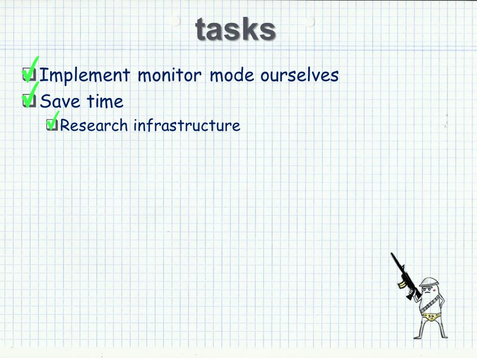 tasks Implement monitor mode ourselves Save time