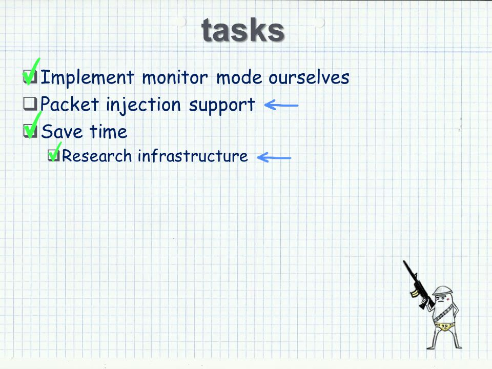 tasks Implement monitor mode ourselves Packet injection support