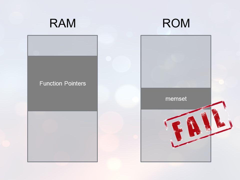 RAM ROM Function Pointers memset