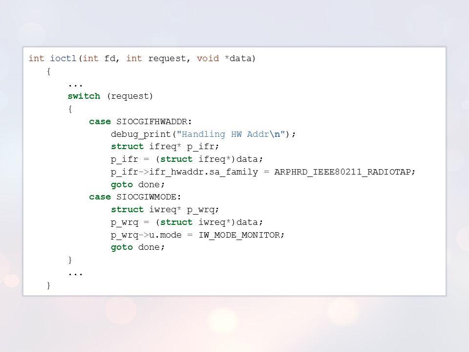 int ioctl(int fd, int request, void. data) {