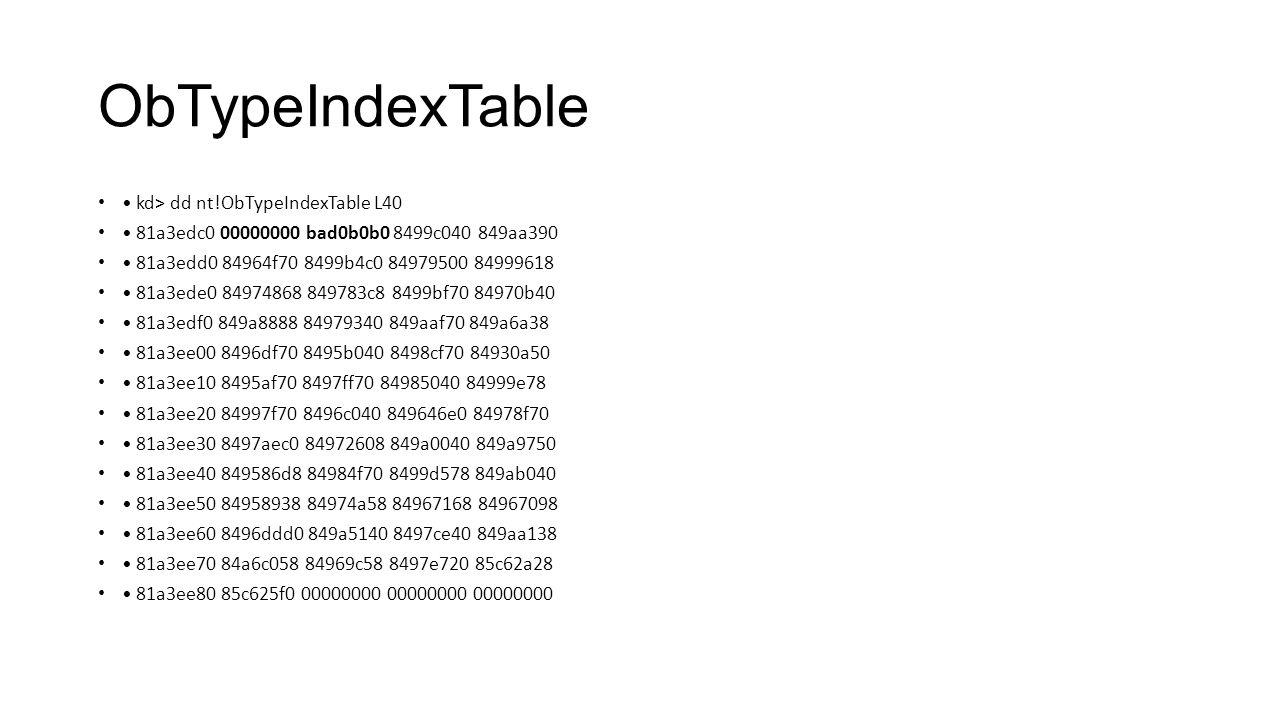 ObTypeIndexTable • kd> dd nt!ObTypeIndexTable L40
