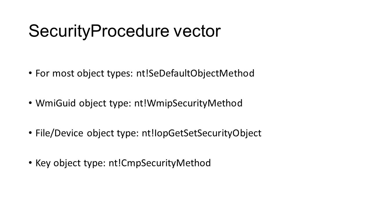SecurityProcedure vector