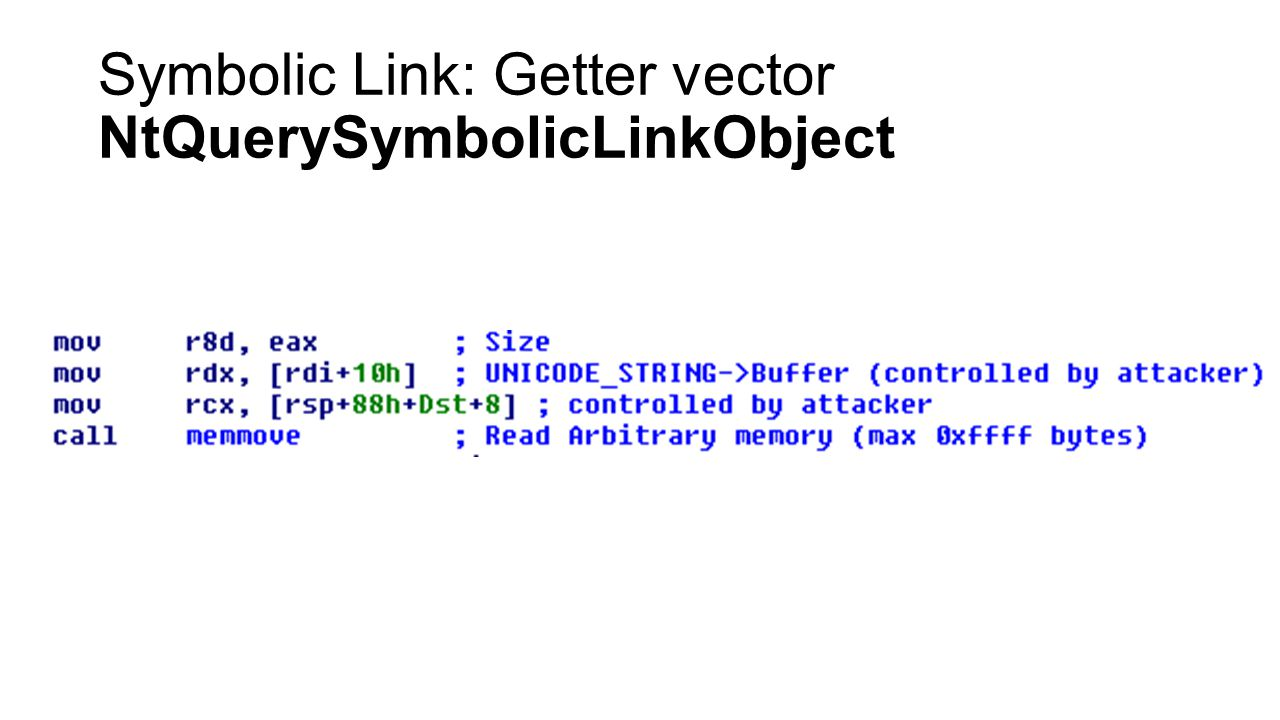 Symbolic Link: Getter vector NtQuerySymbolicLinkObject