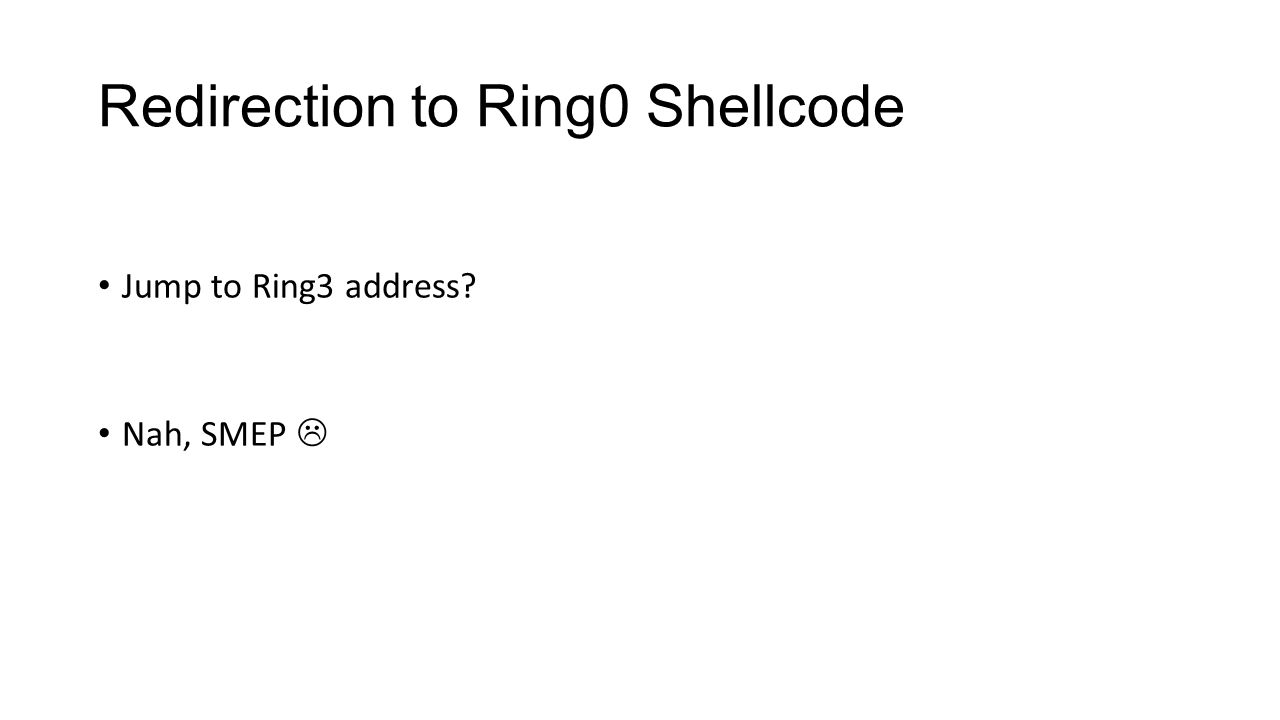 Redirection to Ring0 Shellcode