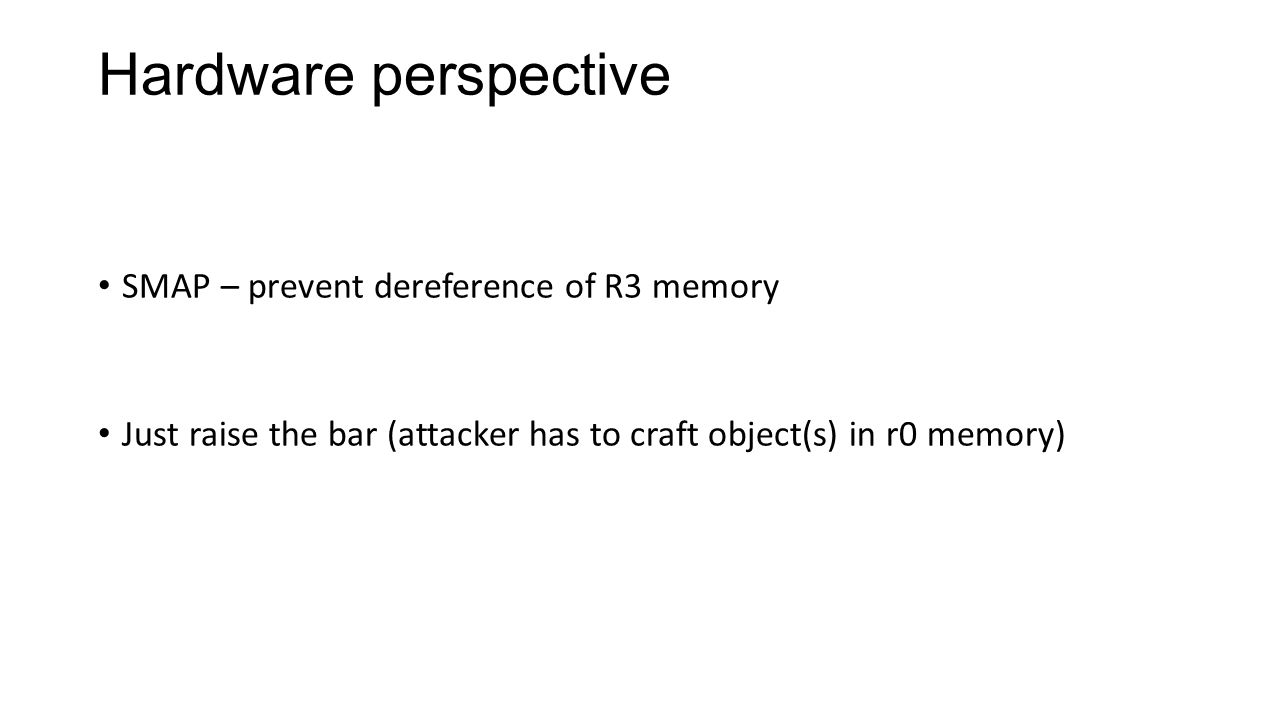 Hardware perspective SMAP – prevent dereference of R3 memory