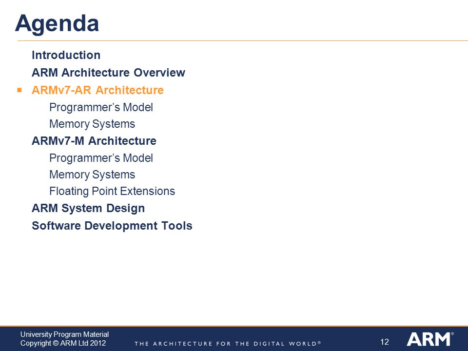 Agenda Introduction ARM Architecture Overview ARMv7-AR Architecture