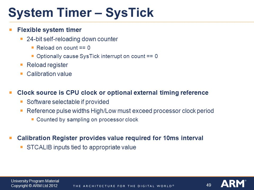 System Timer – SysTick Flexible system timer