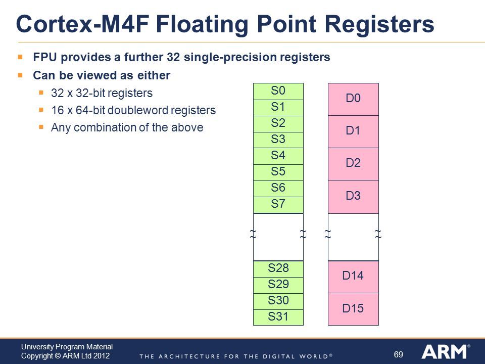 Cortex-M4F Floating Point Registers