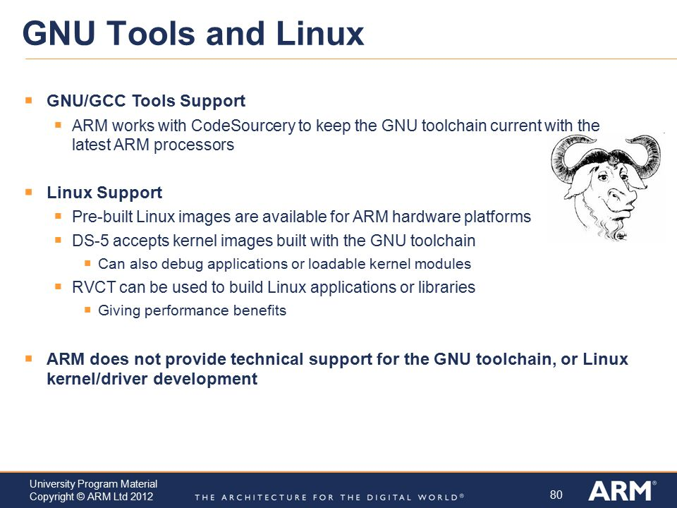 GNU Tools and Linux GNU/GCC Tools Support Linux Support