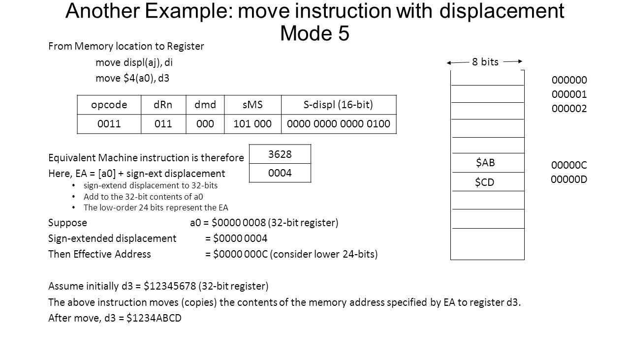 Another Example: move instruction with displacement Mode 5
