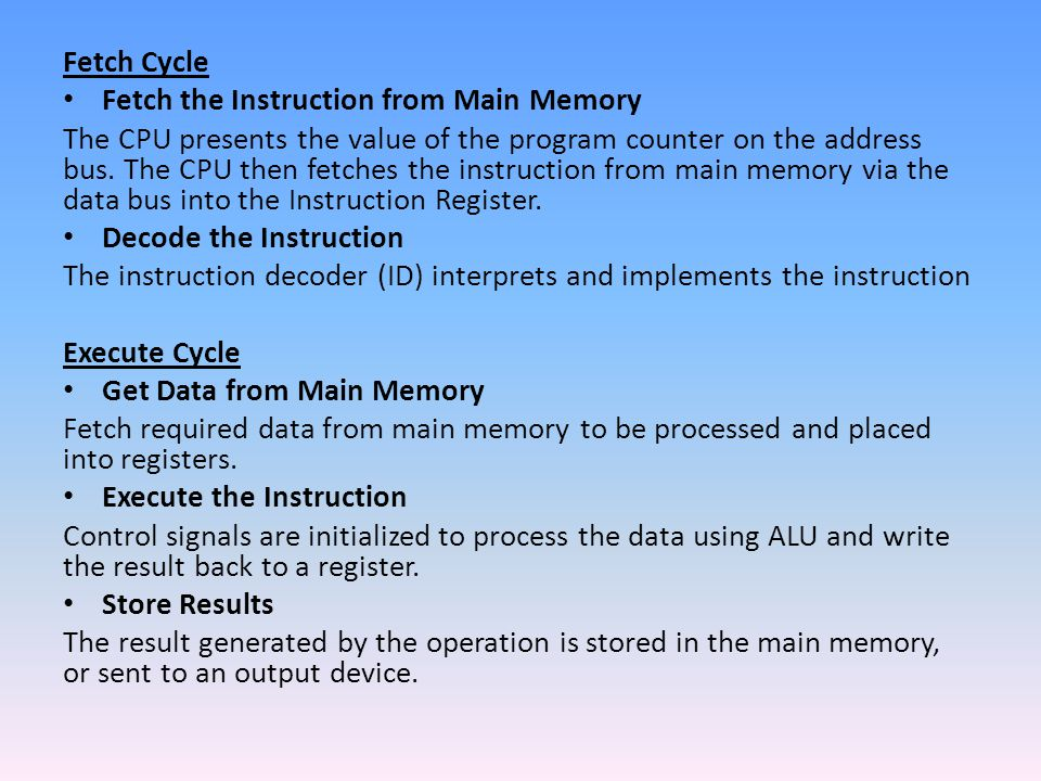 Fetch Cycle Fetch the Instruction from Main Memory.