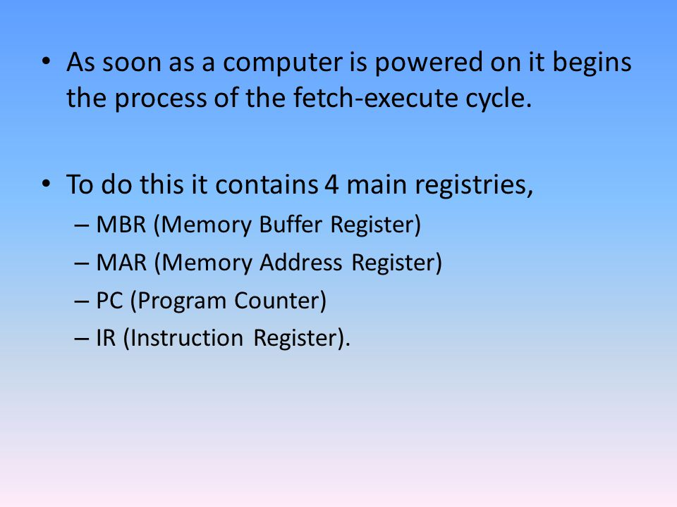 To do this it contains 4 main registries,