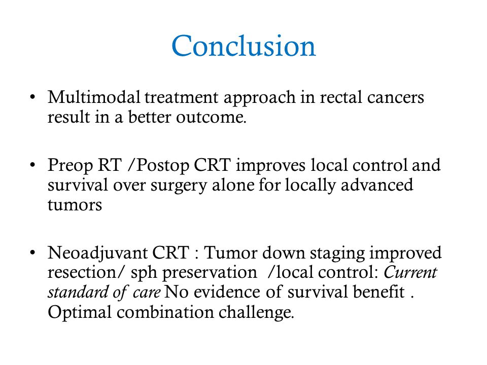 Conclusion Multimodal treatment approach in rectal cancers result in a better outcome.