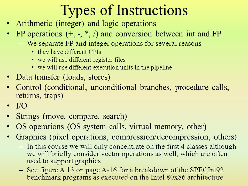 Types of Instructions Arithmetic (integer) and logic operations