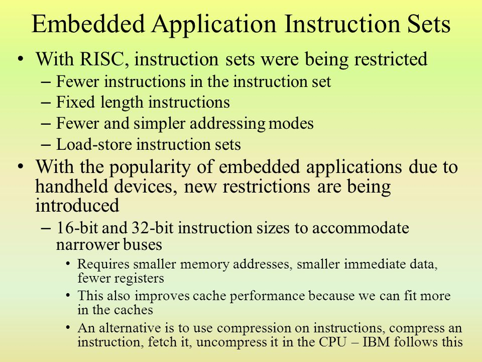 Embedded Application Instruction Sets