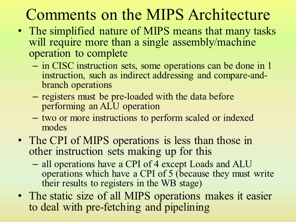 Comments on the MIPS Architecture