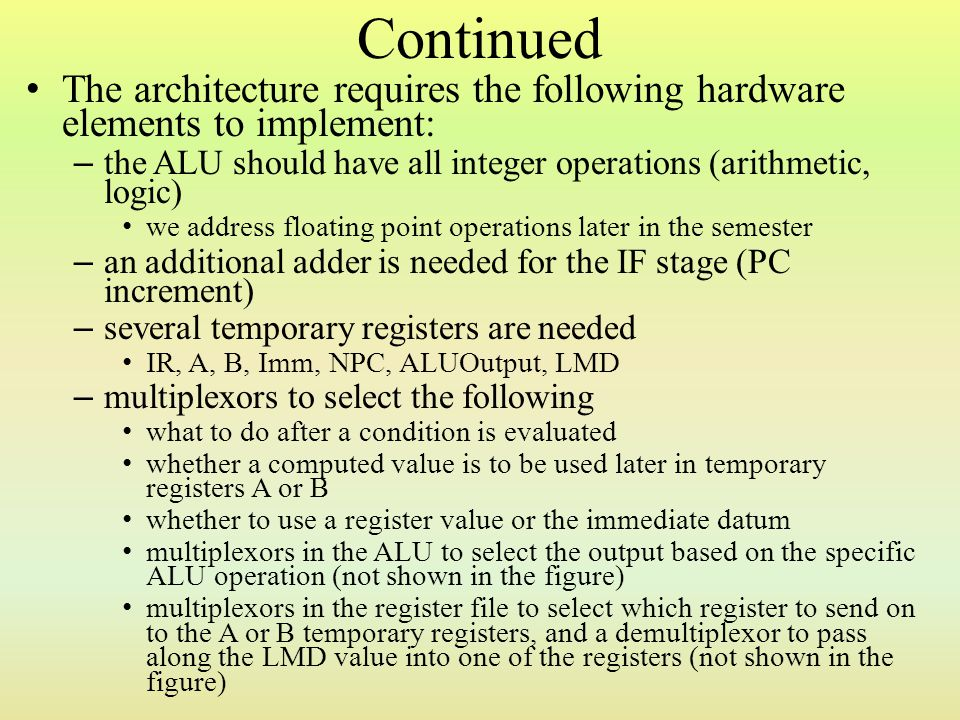 Continued The architecture requires the following hardware elements to implement: the ALU should have all integer operations (arithmetic, logic)