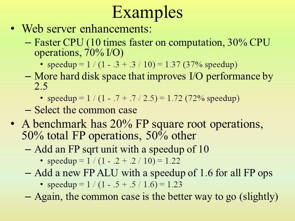 Examples Web server enhancements: