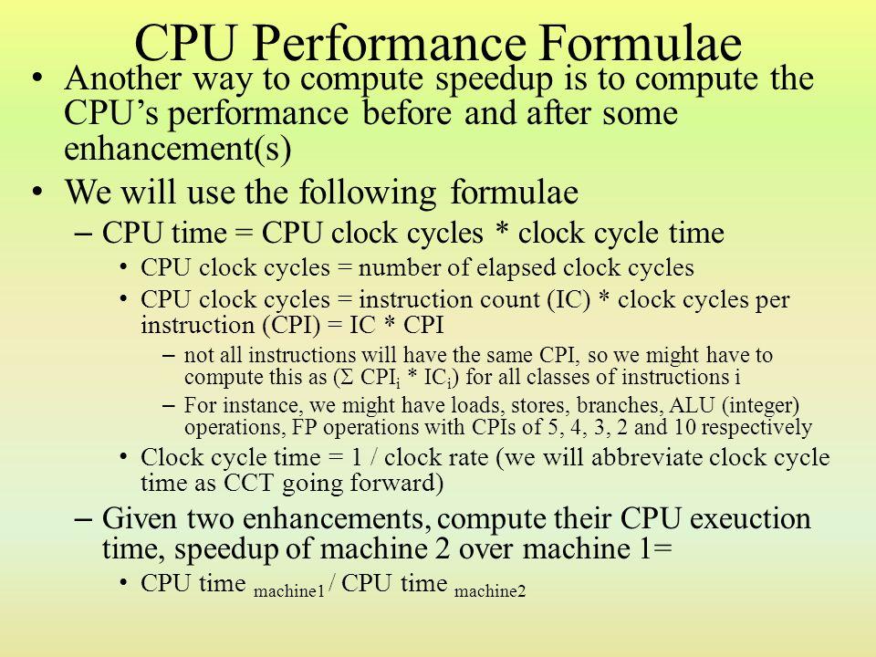 CPU Performance Formulae