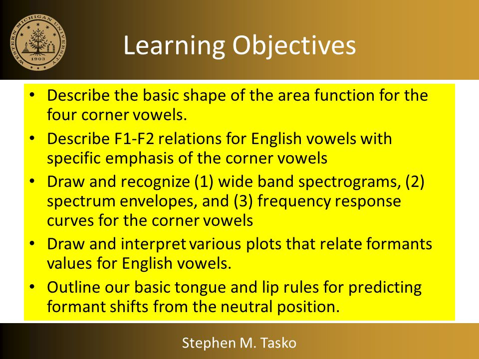 Learning Objectives Describe the basic shape of the area function for the four corner vowels.