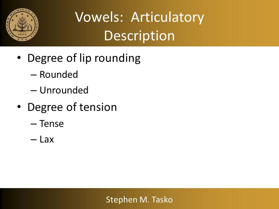 Vowels: Articulatory Description