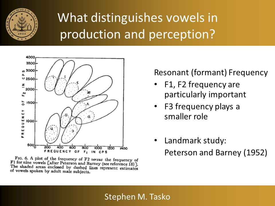 What distinguishes vowels in production and perception
