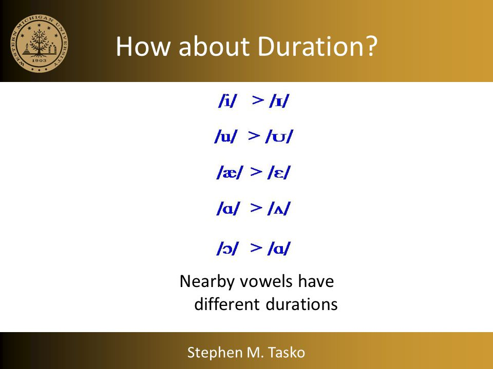 Nearby vowels have different durations