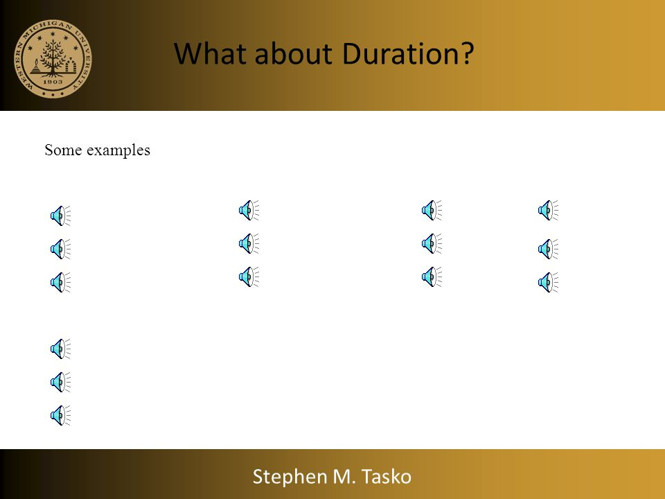 What about Duration Some examples Stephen M. Tasko
