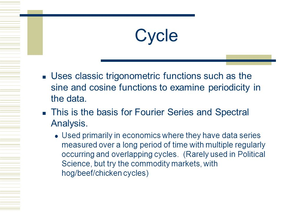 Cycle Uses classic trigonometric functions such as the sine and cosine functions to examine periodicity in the data.