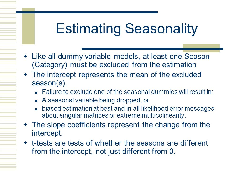 Estimating Seasonality
