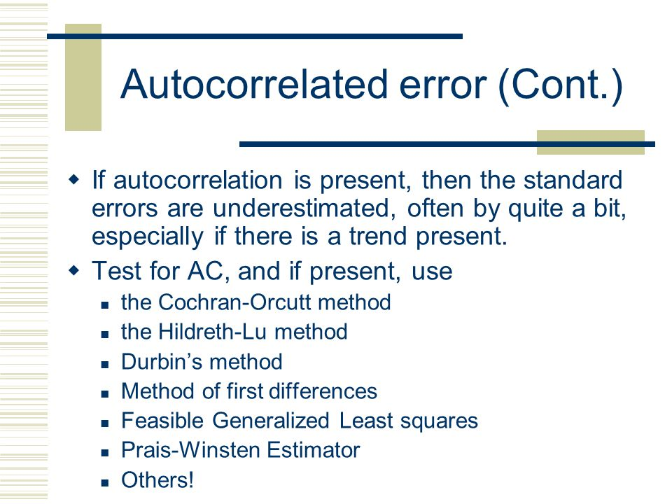 Autocorrelated error (Cont.)