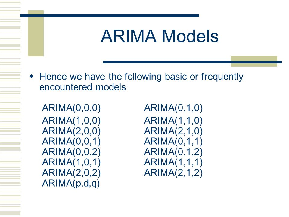 ARIMA Models Hence we have the following basic or frequently encountered models ARIMA(0,0,0) ARIMA(0,1,0)