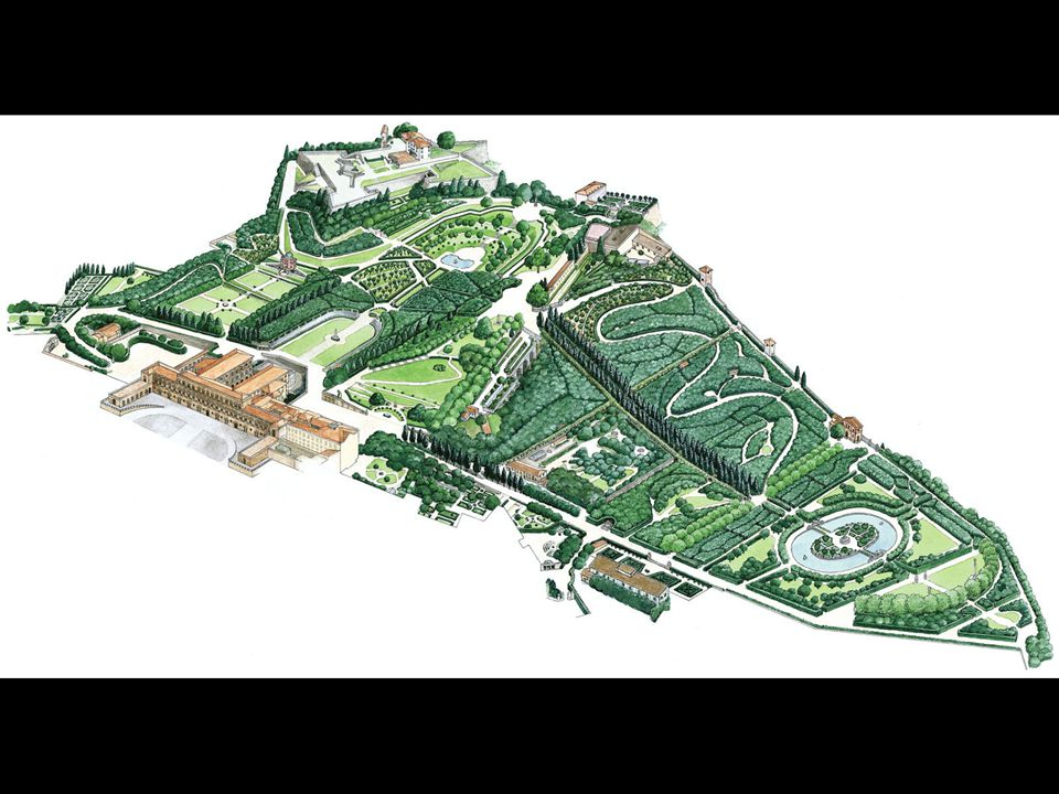 Overview of Palazzo Pitti in Boboli Gardens