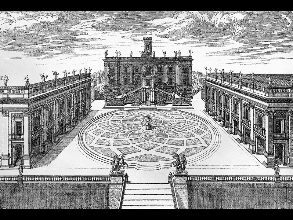 Michelangelo. Campidoglio, Rome (engraving by Étienne Dupérac, 1569)