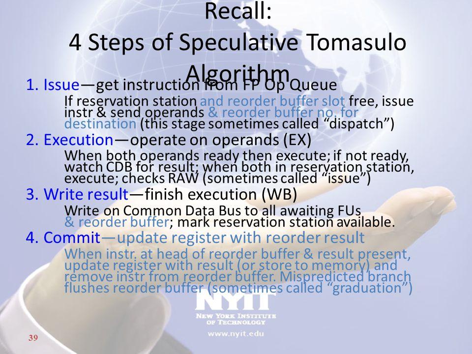 Recall: 4 Steps of Speculative Tomasulo Algorithm