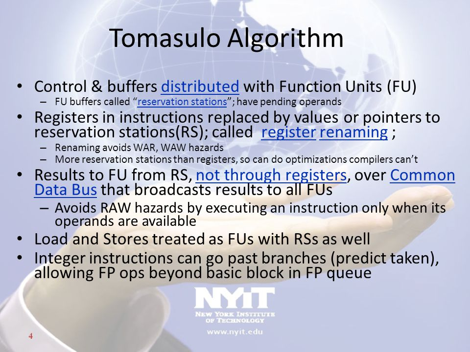 Tomasulo Algorithm Control & buffers distributed with Function Units (FU) FU buffers called reservation stations ; have pending operands.