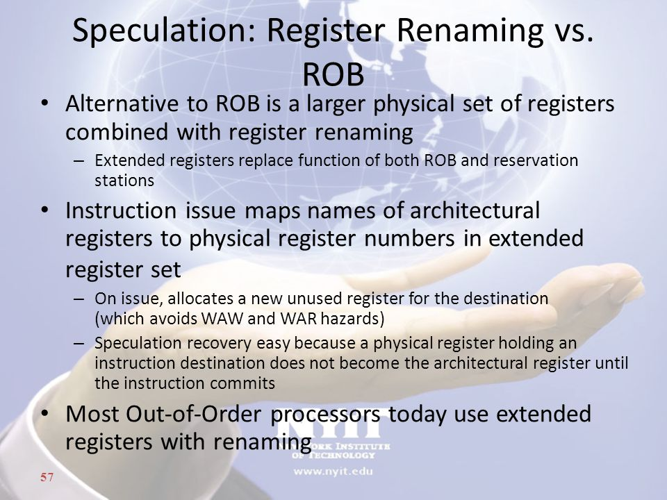 Speculation: Register Renaming vs. ROB