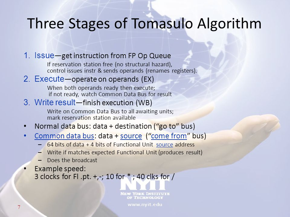 Three Stages of Tomasulo Algorithm