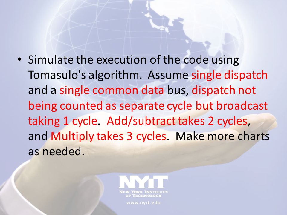 Simulate the execution of the code using Tomasulo s algorithm