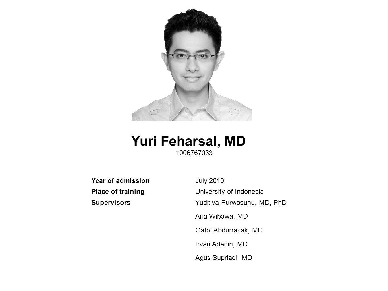Yuri Feharsal, MD 1006767033 Year of admission July 2010