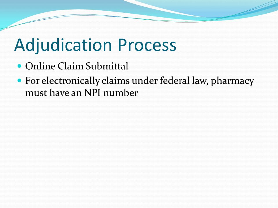Adjudication Process Online Claim Submittal