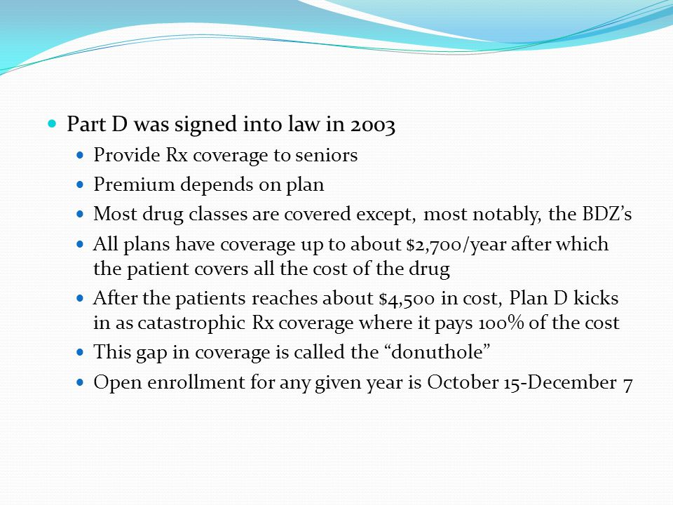 Part D was signed into law in 2003