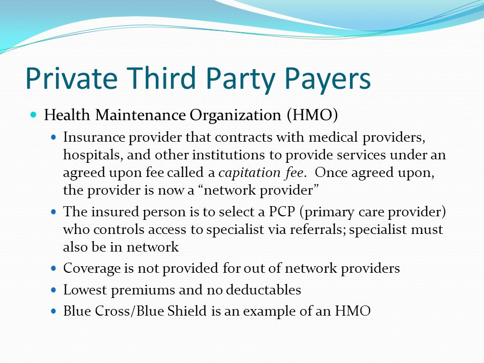 Private Third Party Payers