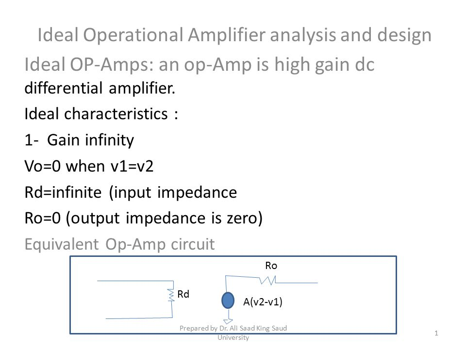 Ideal Operational Amplifier analysis and design