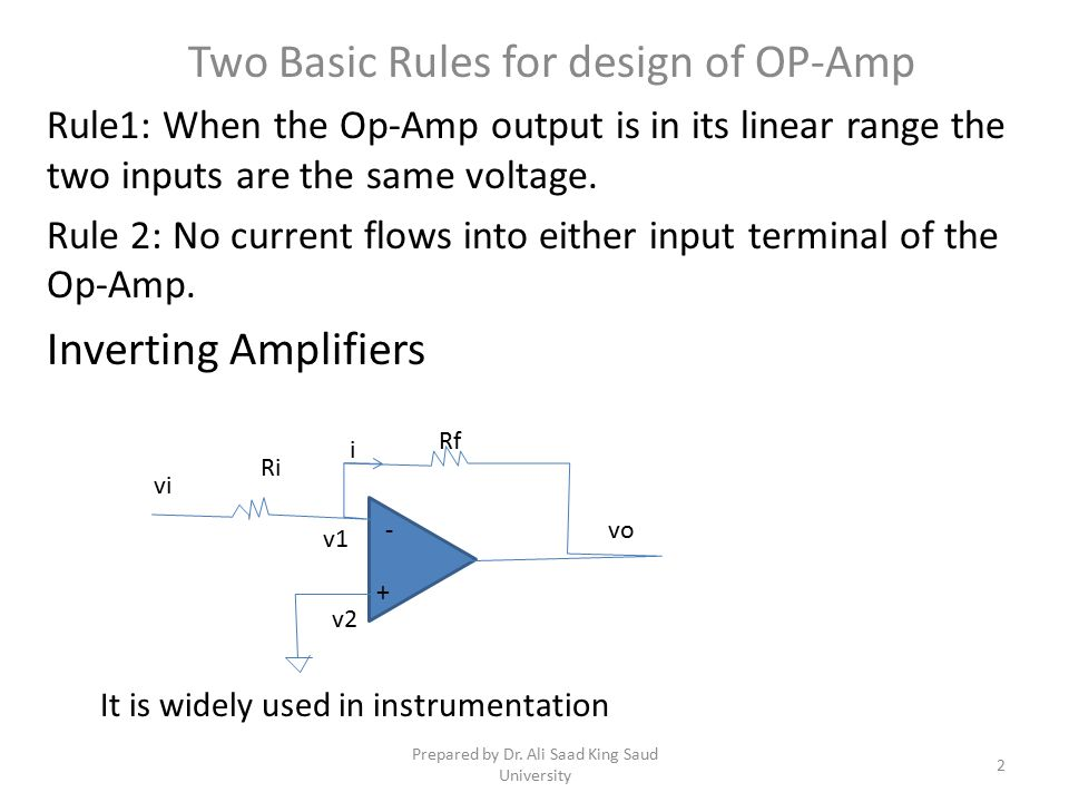 Two Basic Rules for design of OP-Amp