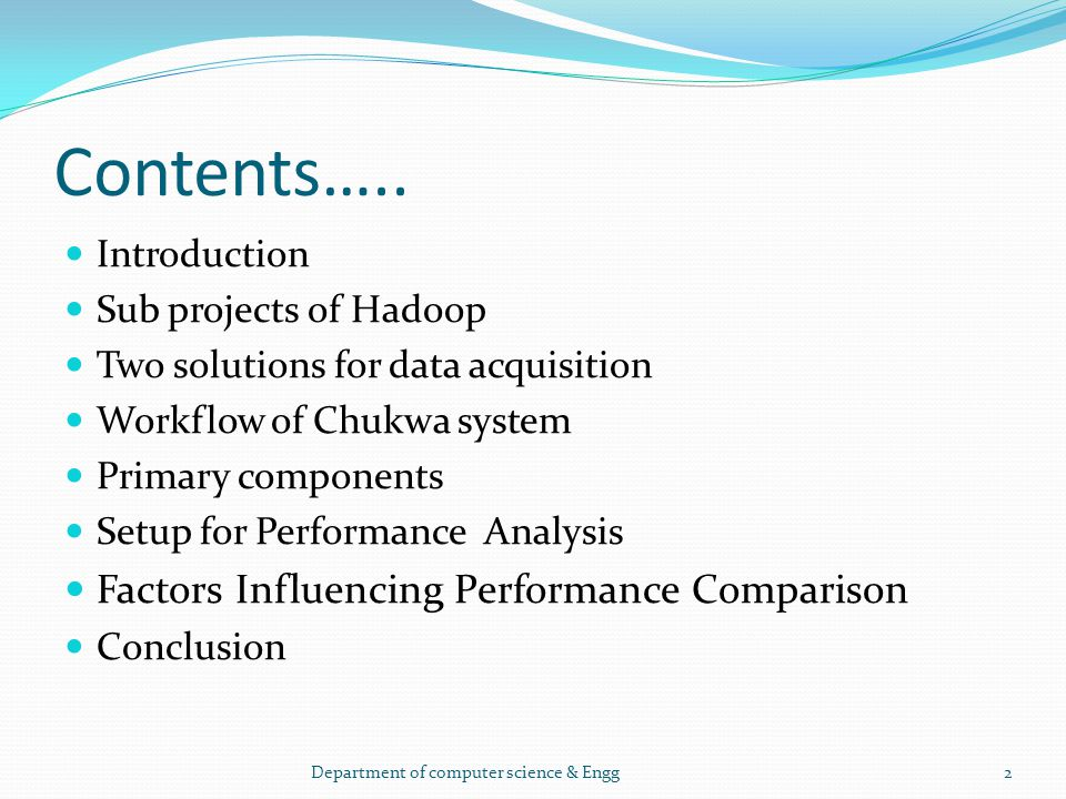 Contents….. Factors Influencing Performance Comparison Introduction