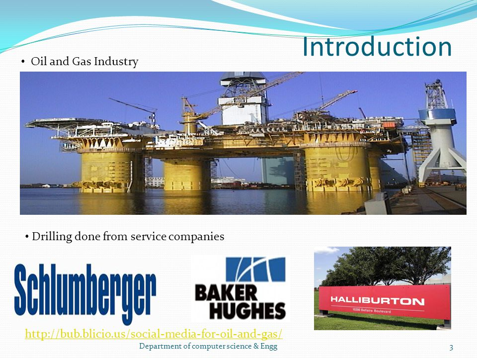 Introduction Oil and Gas Industry Drilling done from service companies