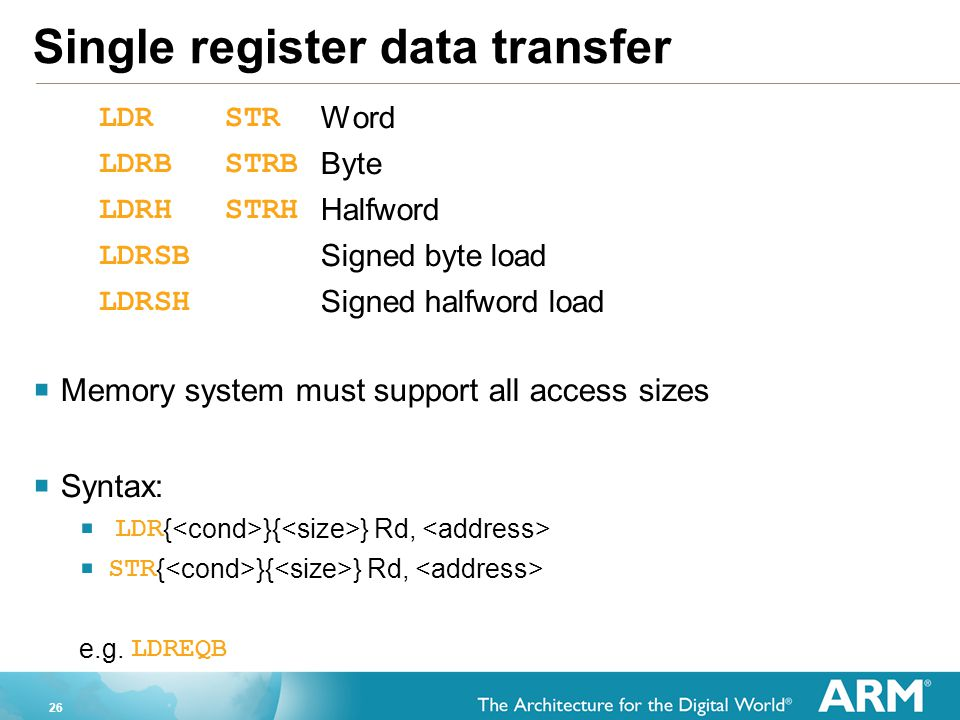 Single register data transfer